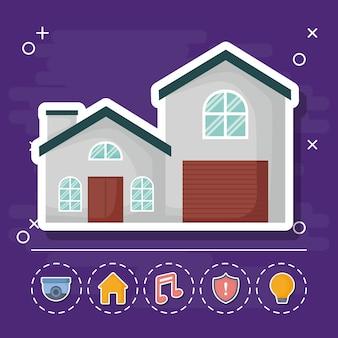 Ícone de casa com ícones relacionados de casa inteligente
