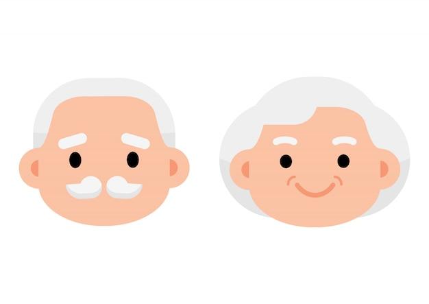Ícone de casal de idosos sênior bonito