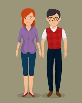 Ícone de casal de negócios de trabalho em equipe