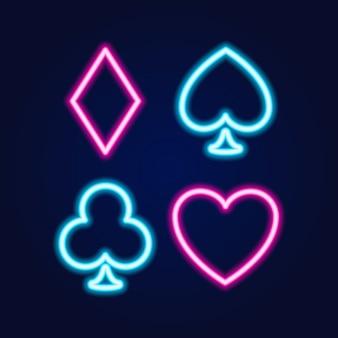 Ícone de cassino de lâmpada de néon, sinal de jogos de cartas de poker ou blackjack