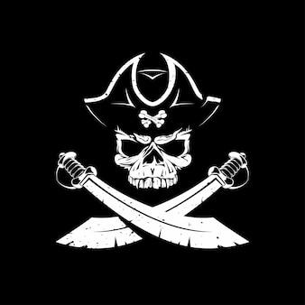 Ícone de caveira pirata em preto