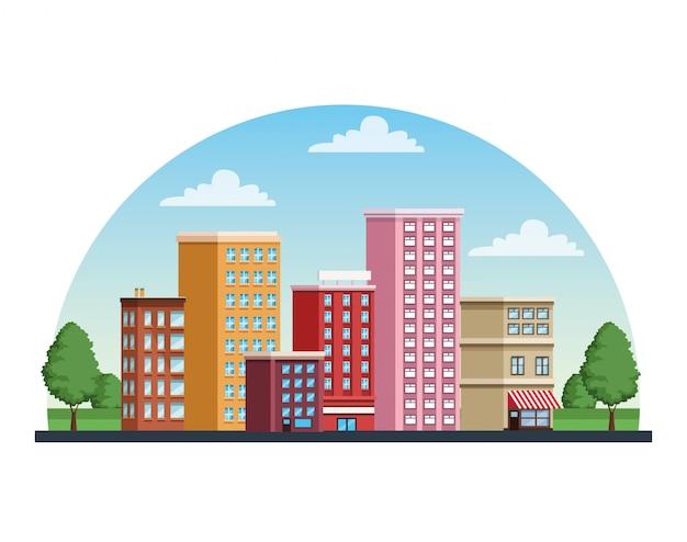 Ícone de cena urbana de paisagem urbana de edifícios