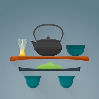 Ícone de cerimônia de chá matcha plana