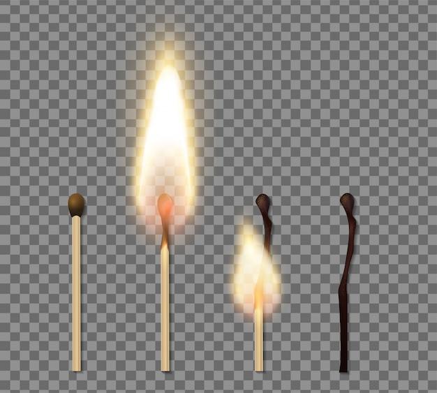 Ícone de chama de palito de fósforo realista conjunto com quatro etapas de ilustração de fósforo a queima