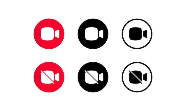 Ícone de chamada de câmera de vídeo definido para videoconferência