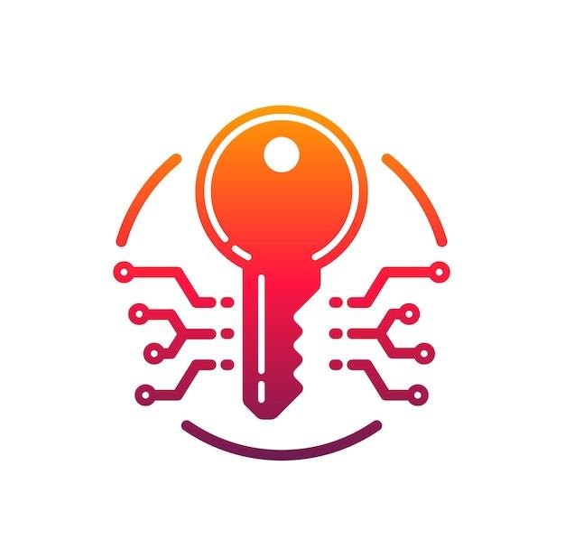 Ícone de chave de segurança e proteção cibernética. emblema do vetor com microcircuito em círculo. prevenção de ataques de hackers e ataques de dados. segurança da informação no elemento de design de internet isolado no fundo branco