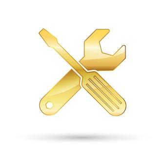 Ícone de chave inglesa e chave de fenda dourada