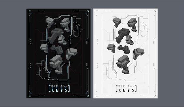 Ícone de chave poligonal em fundo digital, conceito de tecnologia de internet.