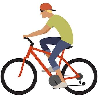 Ícone de ciclismo menino adolescente jovem vetor ciclista
