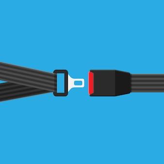 Ícone de cinto de segurança isolado em fundo azul. clique no conceito. equipamento de segurança para carro e avião.