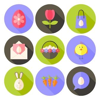 Ícone de círculo com estilo plano de páscoa conjunto 2 com sombra longa. ilustrações coloridas de vetor de círculo estilizado plano