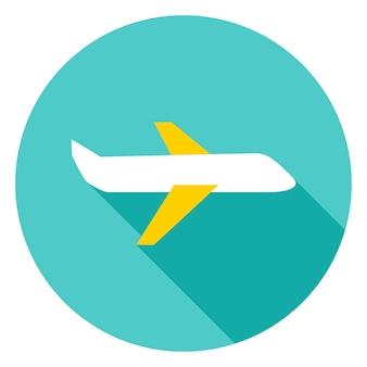 Ícone de círculo de avião. ilustração em vetor design plano com sombra longa.
