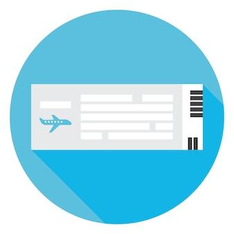 Ícone de círculo de bilhete de avião de viagens plana com sombra longa. ilustração em vetor de documento estilizado