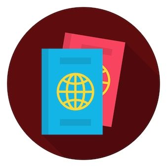 Ícone de círculo de documentos de passaporte plana. ilustração em vetor de ícone estilizado plano de círculo com sombra longa