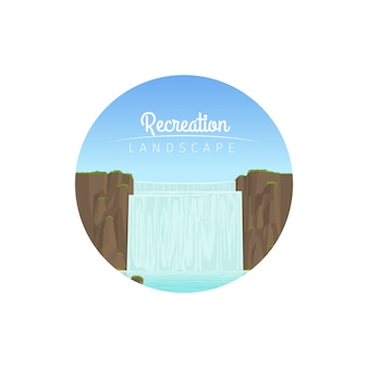 Ícone de círculo de paisagem de recreação