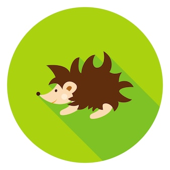 Ícone de círculo do ouriço. ilustração vetorial. animal da floresta.