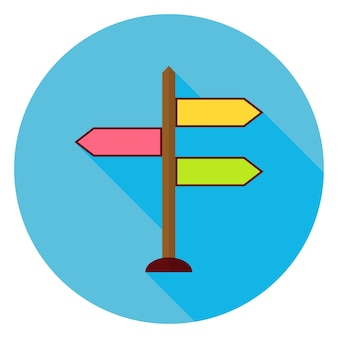 Ícone de círculo do ponteiro de direção plana com sombra longa. ilustração vetorial plana estilizada