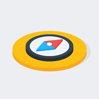 Ícone de círculo isométrico de bússola. ilustração em vetor 3d plana