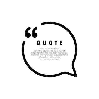 Ícone de citação. contorno de aspas, marcas de discurso, vírgulas invertidas ou coleção de marcas falantes. em branco para o seu texto. forma de círculo. vetor eps 10. isolado no fundo.