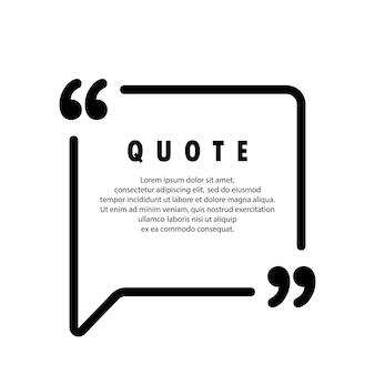 Ícone de citação. contorno de aspas, marcas de discurso, vírgulas invertidas ou coleção de marcas falantes. em branco para o seu texto. forma quadrada. vetor eps 10. isolado no fundo.