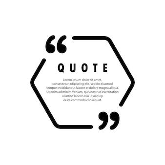 Ícone de citação. contorno de aspas, marcas de discurso, vírgulas invertidas ou coleção de marcas falantes. em branco para o seu texto. quadro. vetor eps 10. isolado no fundo.