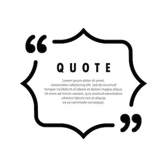 Ícone de citação. contorno de aspas, marcas de discurso, vírgulas invertidas ou coleção de marcas falantes. em branco para o seu texto. vetor eps 10. isolado no fundo.