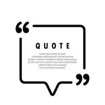 Ícone de citação. contorno de aspas, marcas de discurso, vírgulas invertidas ou coleção de marcas falantes. forma quadrada. em branco para o seu texto. quadro. vetor eps 10. isolado no fundo.