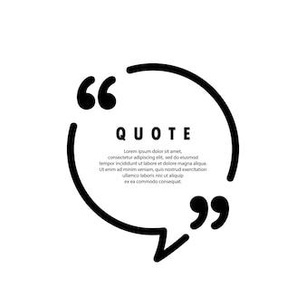Ícone de citação. marcas de fala, vírgulas invertidas ou coleção de marcas falantes. forma de círculo. em branco para o seu texto. vetor eps 10. isolado no fundo.