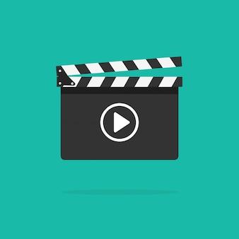 Ícone de claquete com botão de vídeo
