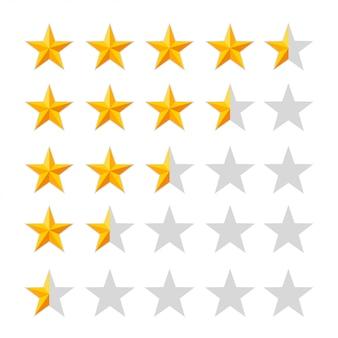 Ícone de classificação com estrelas douradas. meias estrelas. conjunto de crachá. qualidade, feedback, experiência, conceitos de nível. ilustração isolada no fundo branco. página do site e aplicativo móvel