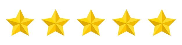 Ícone de classificação de cinco estrelas isolado no branco