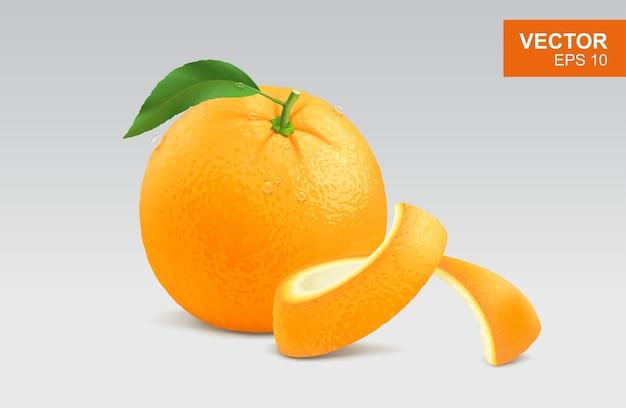 Ícone de clipart laranja inteiro realista com folha verde