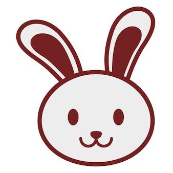 Ícone de coelho kawaii sobre fundo branco