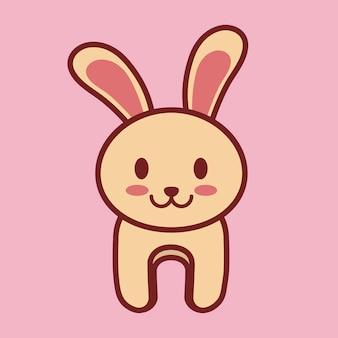 Ícone de coelho kawaii sobre fundo rosa