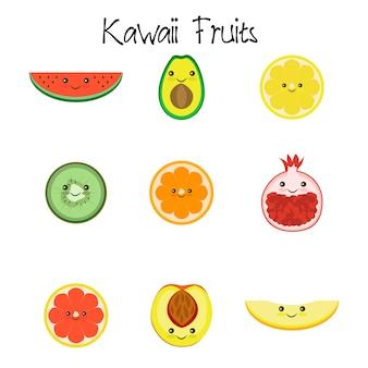 Ícone de coleção de frutas kawaii isolado no fundo branco