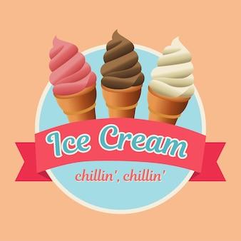 Ícone de comida de pastelaria de sorvete delicioso doce