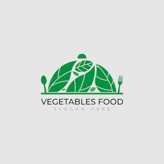 Ícone de comida vegana em verde elegante com logotipo de vegetais frescos