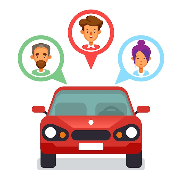 Ícone de compartilhamento de carro com personagens planos