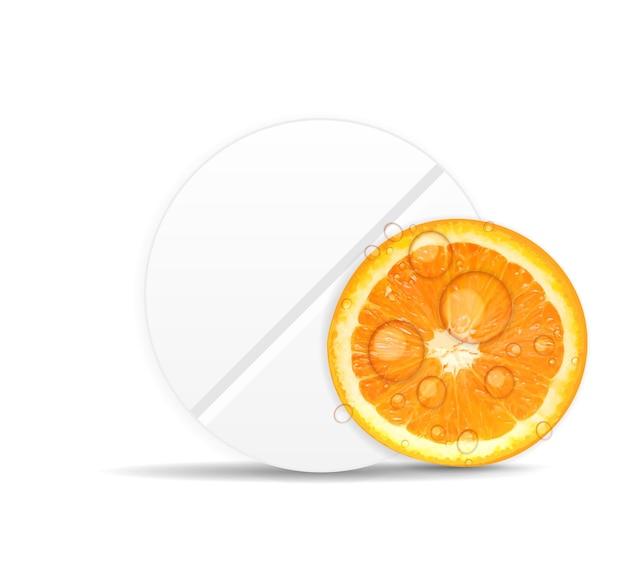 Ícone de comprimido laranja. ilustração em vetor de fundo do ambiente.