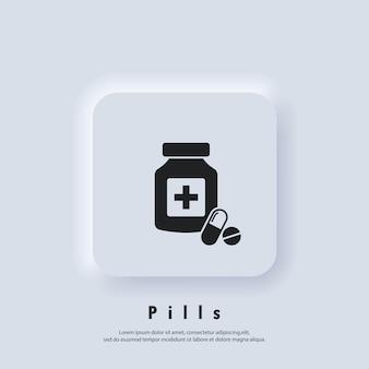 Ícone de comprimidos. ícone do frasco de remédio. logotipo da drogaria. medicamento. vetor. ícone da interface do usuário. botão da web da interface de usuário branco neumorphic ui ux. neumorfismo