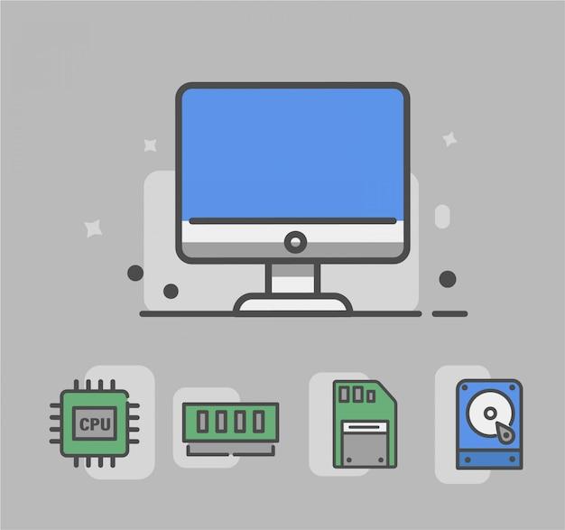 Ícone de computador com ícone de hardware. ícone de hardware ou seja, cpu, slot de memória, memória, disco rígido