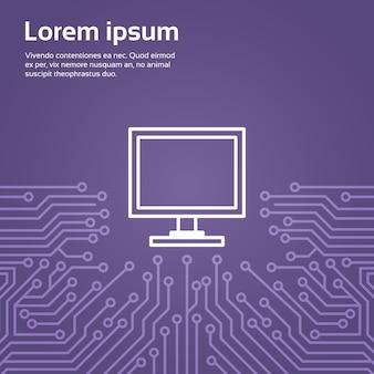 Ícone de computador sobre banner de fundo do chip de computador