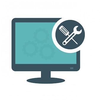 Ícone de computadores de serviço técnico