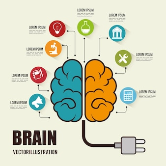 Ícone de conceito de invasão de cérebro