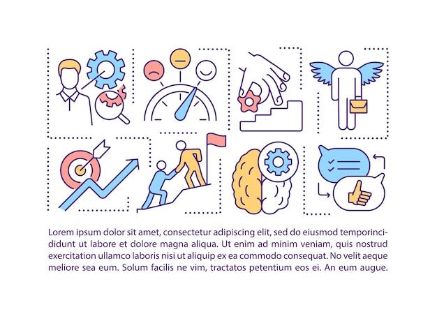 Ícone de conceito de soluções de negócios com texto. trabalho em equipe e aluguel de cérebro melhoram ppt empresarial Vetor Premium