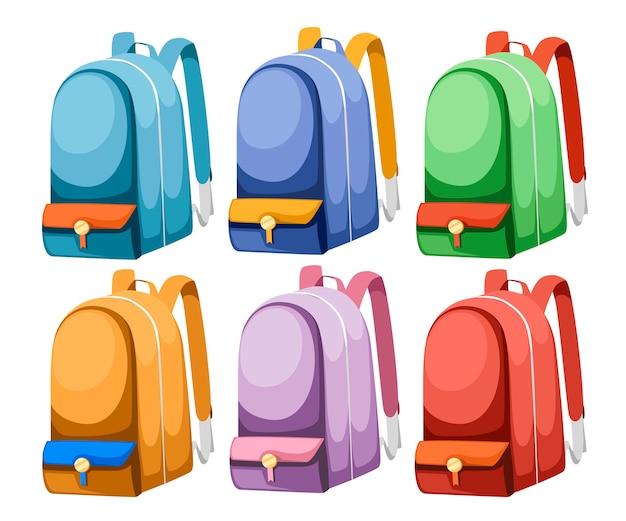 Ícone de conjunto colorido de mochila escolar