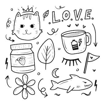 Ícone de conjunto de adesivos de gato fofo kawaii