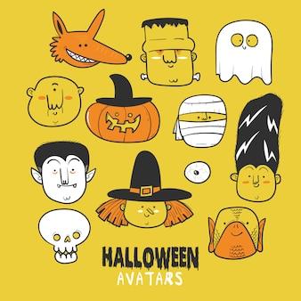 Ícone de conjunto de caracteres de halloween ou avatares