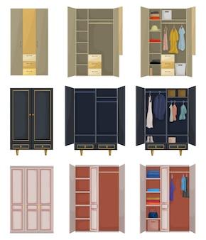 Ícone de conjunto de desenhos animados do armário. armário de ilustração em fundo branco. desenho isolado conjunto de ícones de armário.