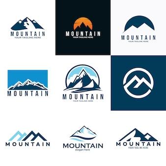 Ícone de conjunto de logotipo de montanhas